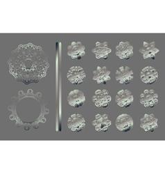 Silver mandala set vector image