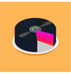 birthday cake and vinyl disc collection vintage vector image vector image
