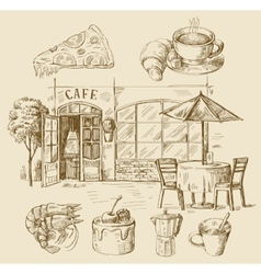 hand drawn cafe vector image vector image