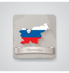 Icon of slovenia map with flag vector