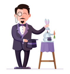 magician holding rabbit and magic hat vector image vector image