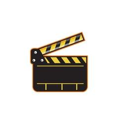 Movie camera slate clapper board open retro vector