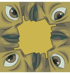 picture frame formed out of four faces vector image vector image