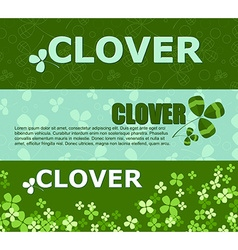 Set of horizontal banners with green clover and vector image