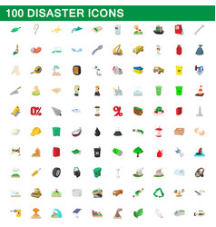 100 disaster icons set cartoon style vector