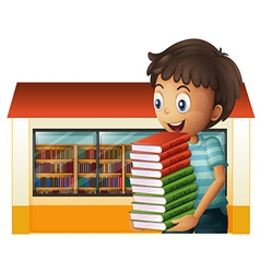 A boy carrying books outside library vector