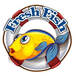A fresh fish label with an image of a fish vector image