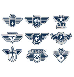 Air force labels vintage army badges military vector