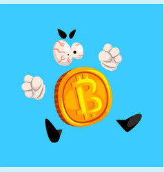 Angry bitcoin character funny crypto currency vector