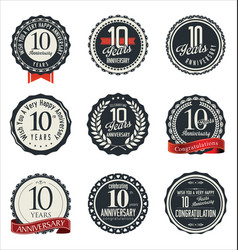 Anniversary retro badge collection 10 years vector