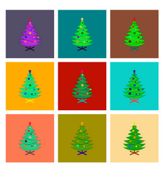 Assembly flat christmas tree vector