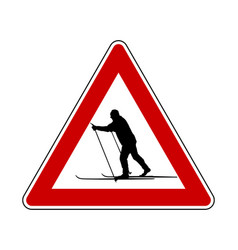 Attention sign cross-country skiing vector