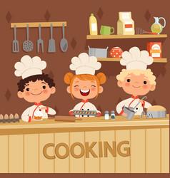 Background kids preparing food on vector