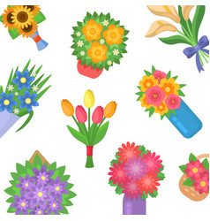 beautiful bouquet spring flowers bouquets vector image