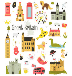 big bundle icons united kingdom symbols vector image