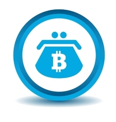Bitcoin purse icon blue 3D vector image