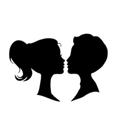 black silhouettes of loving couple isolated on vector image