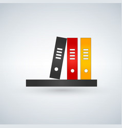 Bookshelf icon with colorfull books vector
