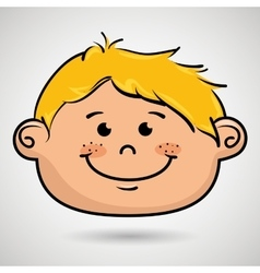 cartoon childhood face icon vector image