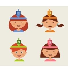 children celebrating Hanukkah vector image