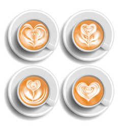 Coffee art cup set herat top view hot vector