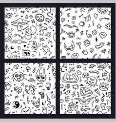 collection seamless doodle patterns vector image