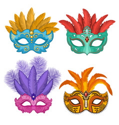 colored pictures carnival or theatre masks vector image