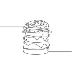 continuous line hamburger or burger or big burger vector image