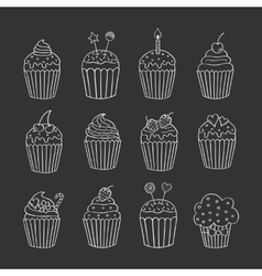 Cupcake set isolated on chalkboard vector
