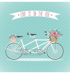 Cute bicycle with basket full of flowers vector