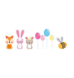 cute fox rabbit bear bee balloons decoration baby vector image