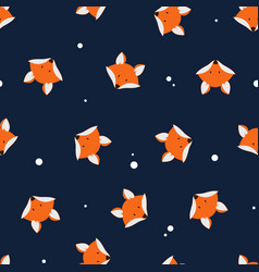 Cute foxes seamless pattern vector
