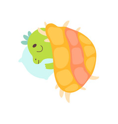 cute little dino sleeping on pillow under blanket vector image