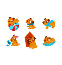 cute little dog cartoon character set funny brown vector image