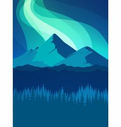 Dark mountain landscape with aurora northern light vector