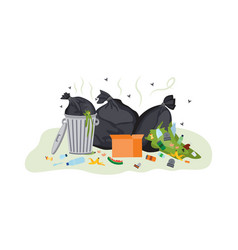 dirty garbage pile overflowing with smelly food vector image