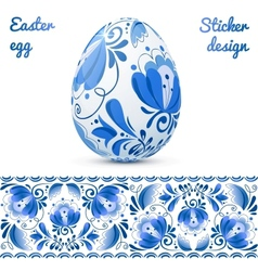 Easter eggs sticker design template vector image