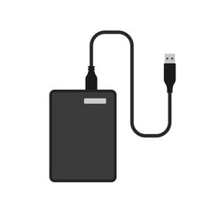 External hard disk drive with usb cable vector