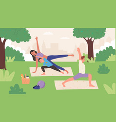 family yoga in summer park outdoor flat vector image
