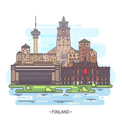 Famous finland landmarks and finnish monuments vector
