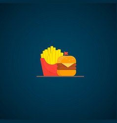 fast food hamburger dinner vector image