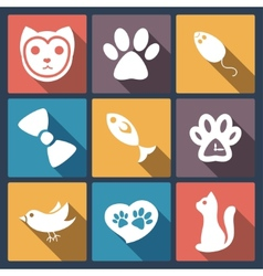 Flat cat icons set pet application icon in flat vector
