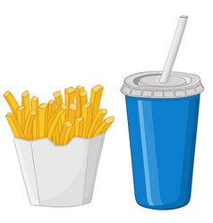 french fries and a drink in a blue disposable cup vector image