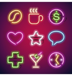 Glowing Neon Signs Set vector image