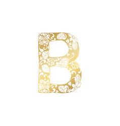 golden ornamental alphabet letter b font vector image