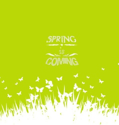 Green spring with coming soon floral vector image