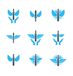 Guardian angel conceptual emblems collection vector