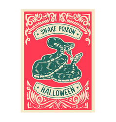 Halloween snake poison bottle label template vector