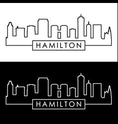 hamilton skyline linear style editable file vector image