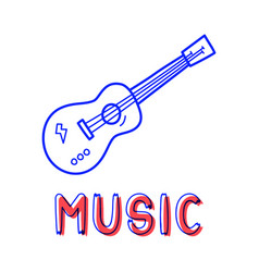 hand draw guitar icon in doodle style for your vector image